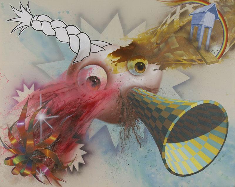 Fantasiewesen mit braunen Augen einem geflochtenen Zopf. Es sind ebenfalls ein Haus, ein Regenbogen, eine Kröte und blutartige Flüssigkeit zu sehen.