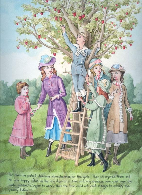 Sechs Personen stehen an einem Apfelbaum und eine Person ist eine Leiter hochgeklettert, um einen Apfel zu pflücken.