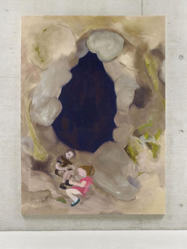 Gemälde, dass zwei Kinder in einer wolkenartigen Umgebung zeigt.